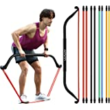 Work Out Bow Home Gym Resistance Bands,Fitness Equipment System with 8pcs Resistance Bands, 10-60lb Bands Optional, Can Adjus