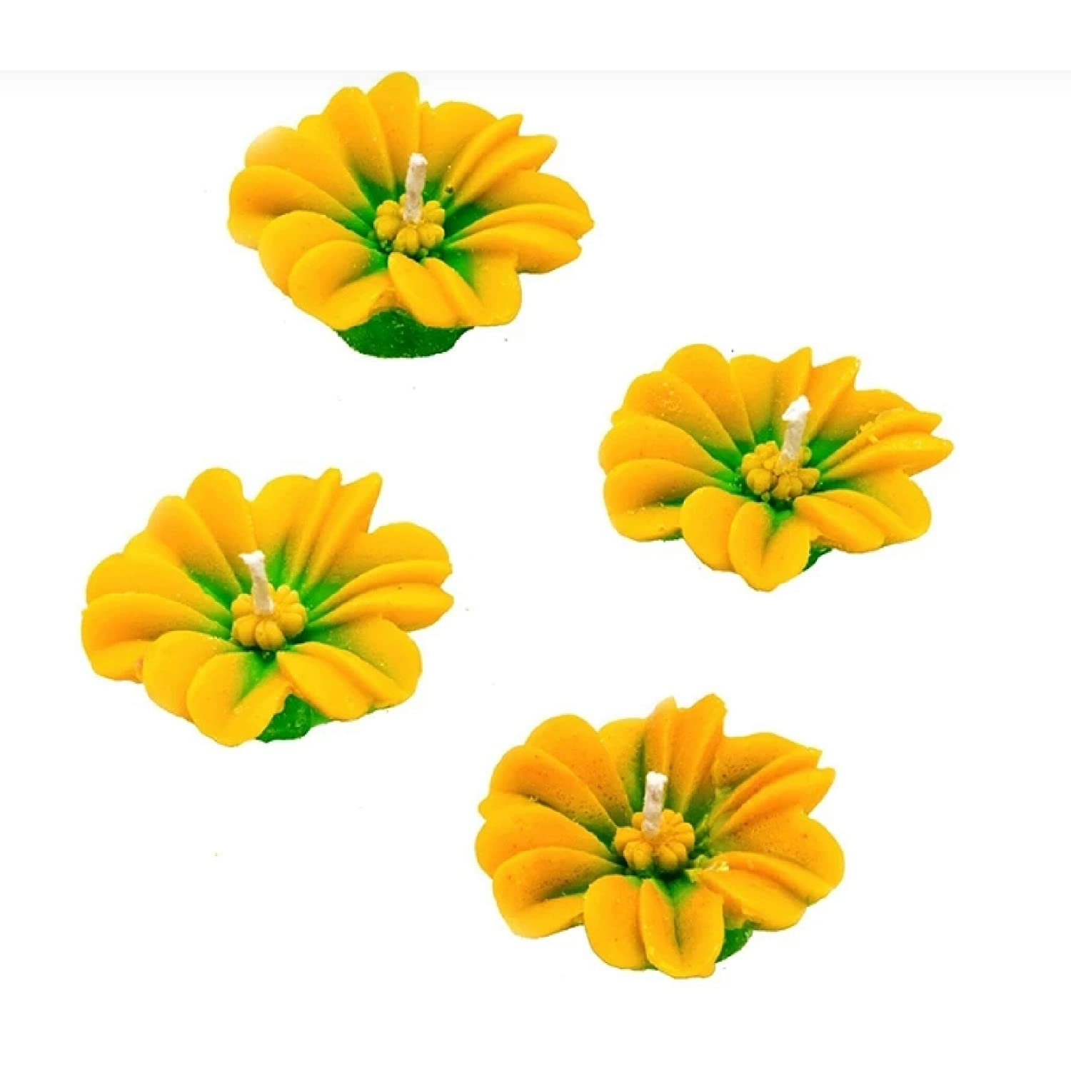 BDS CREATIONS 1408 Scented SMOKELESS Yellow and Green Designer Flower Floating Candles Pack of 4PCS BULAKI DASS AND SONS