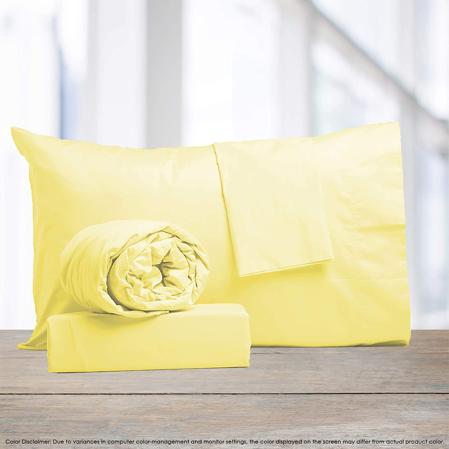 """Color Sense 1100 Thread Count Cotton Rich 4 Piece Bed Sheet Set, King Sheets Sateen Weave, Wrinkle Resistant, Ultra Soft, Quick Dry, Easy Care, Patented Fitted Sheet Fits Upto 18"""" Deep Pocket, Yellow"""
