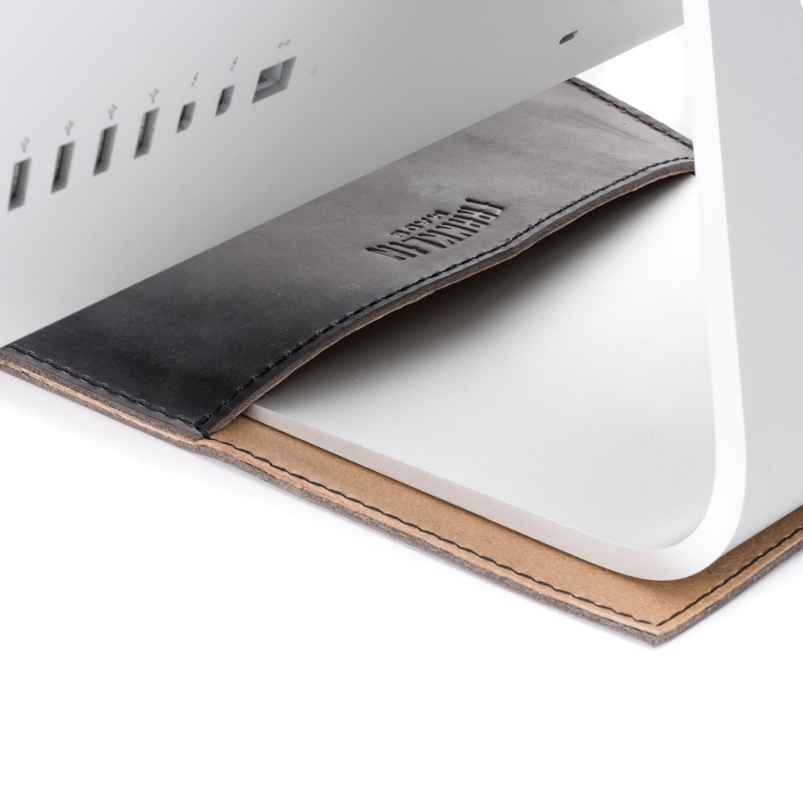 100% Full Grain Black Leather 4 Piece 27'' Apple Computer Desktop Set - Made in USA by Franklin Made (Image #1)
