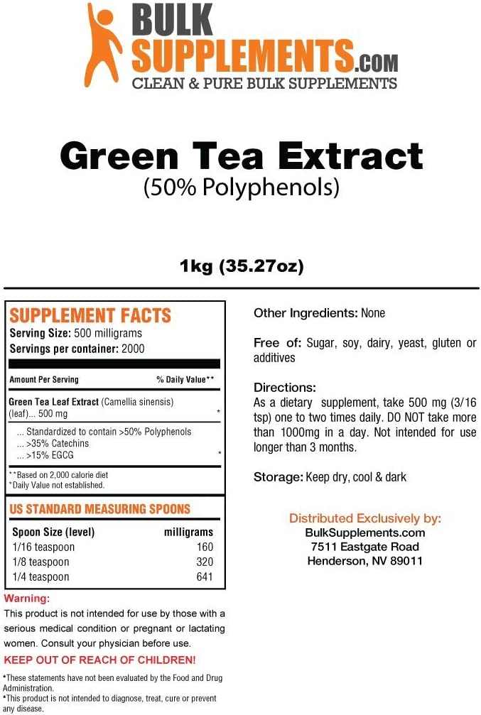 BulkSupplements Green Tea 50 Polyphenols Powder 1 Kilogram