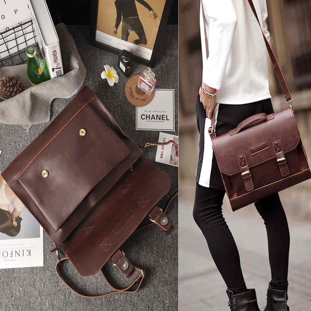a5d59d8456a54 JAKAGO männer frauen Leder Aktentasche Satchel Schultasche Business Laptop-tasche  Crossbody Umhängetasche Messenger Bags (braun)  Amazon.de  Schuhe   ...