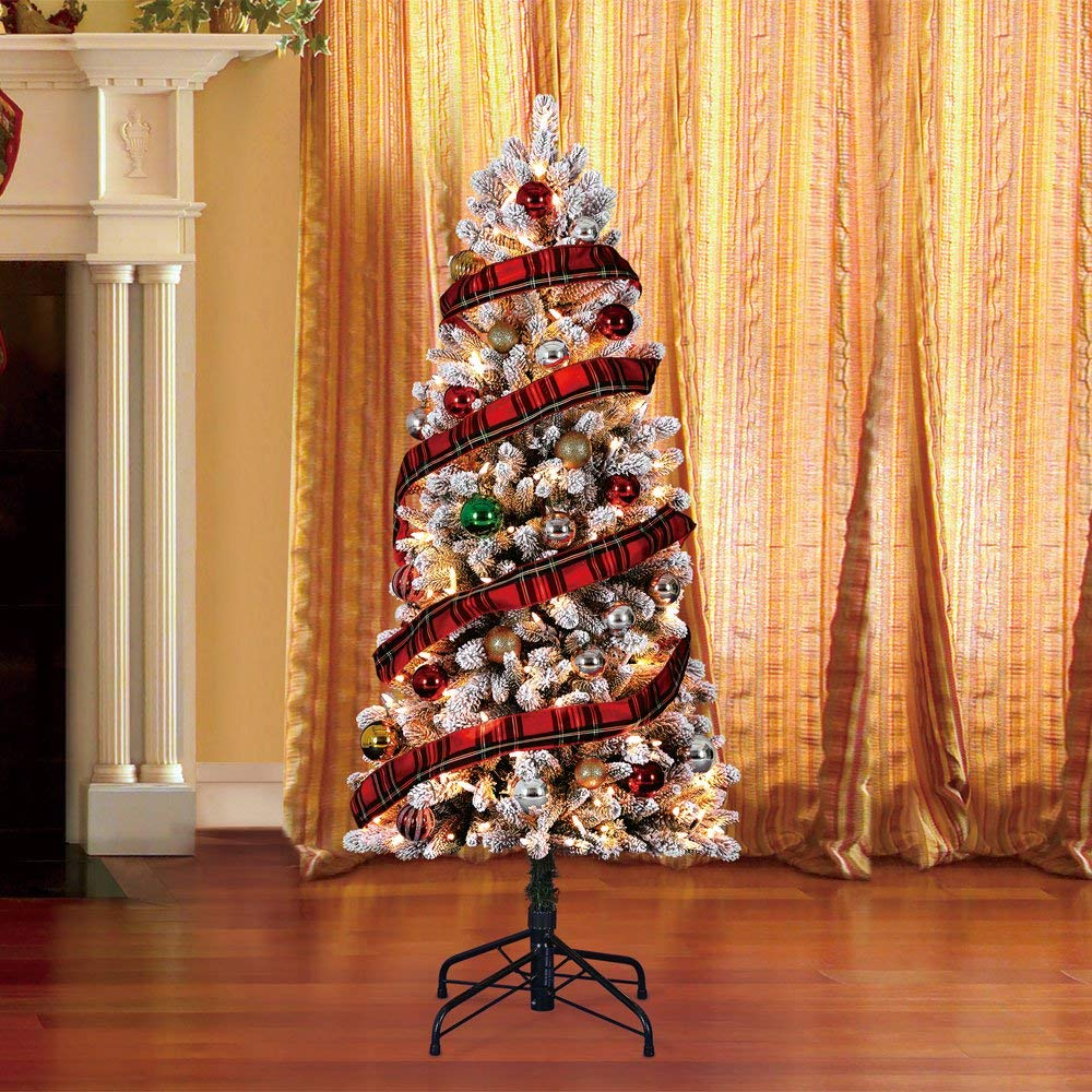 Home Heritage 5' Frosted Alpine Quick Set Flocked Christmas Tree with Lights