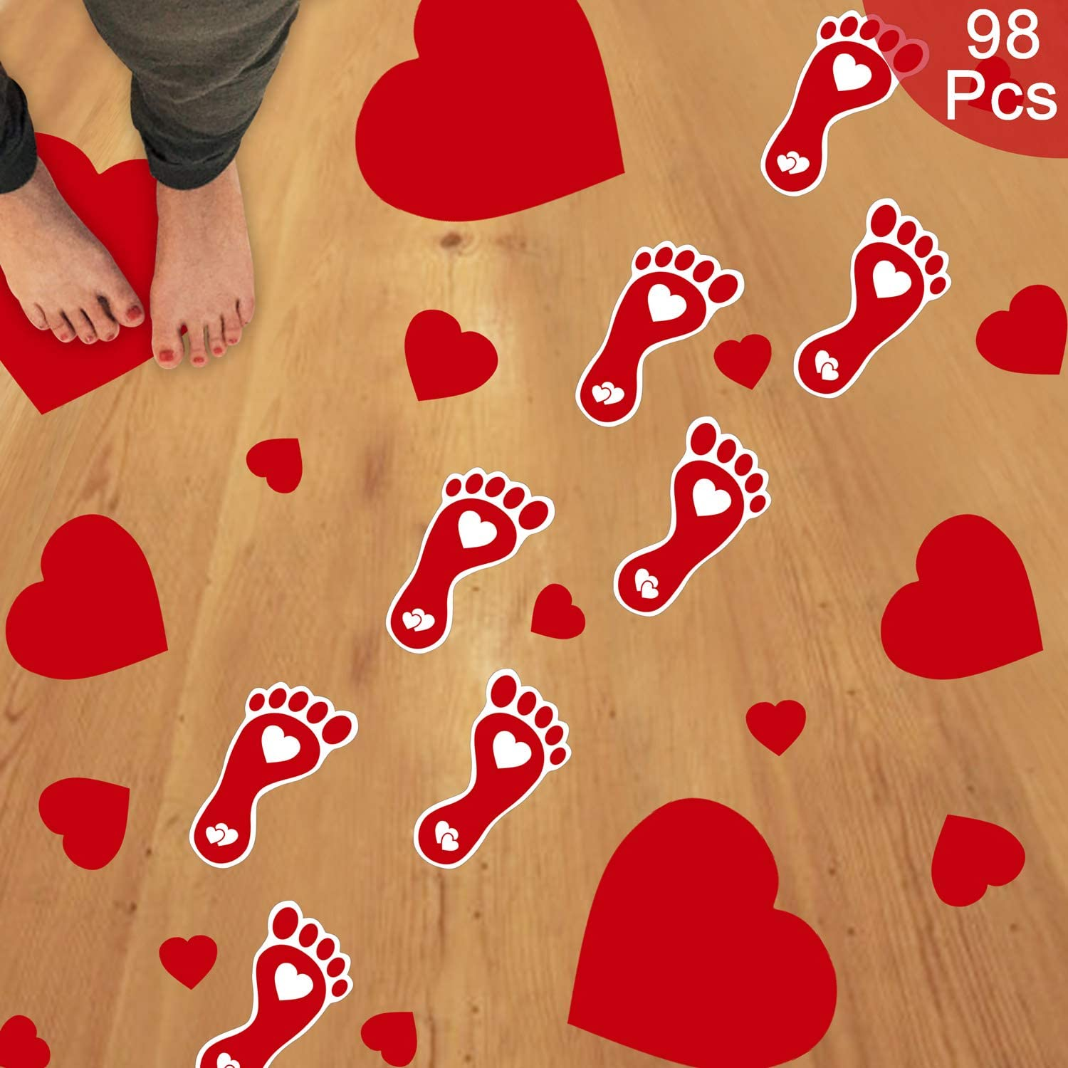Tifeson 98 PCS Valentine's Day Heart Floor Stickers Decoration for Home Office - Heart Footprints Decals for Wall, Window - Mother's Day Decorations, Wedding, Anniversary Decor