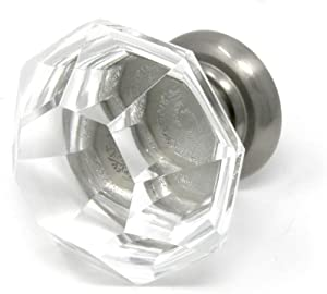 Single Asscher Cut Glass Knob-Add Crystal Clear Sparkle to Bifold Doors, Furniture, Drawers with Distinctive Size and Ergonomic Easy Pull-Includes Mounting Screws (Brushed Nickel Base)