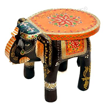 TheVintageDecor Wooden Elephant Table / Handcrafted With Artistic Painting
