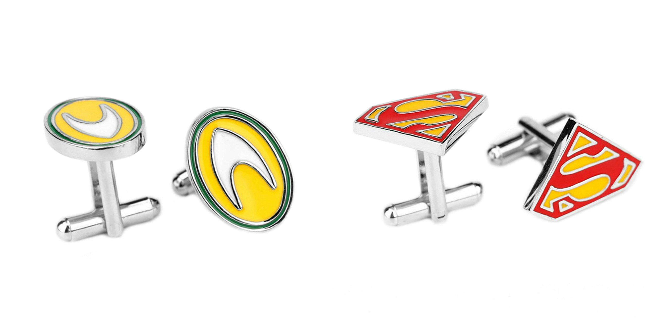 Superheroes DC Comics Aquaman and Superman Logos (2 Pair) Cufflinks