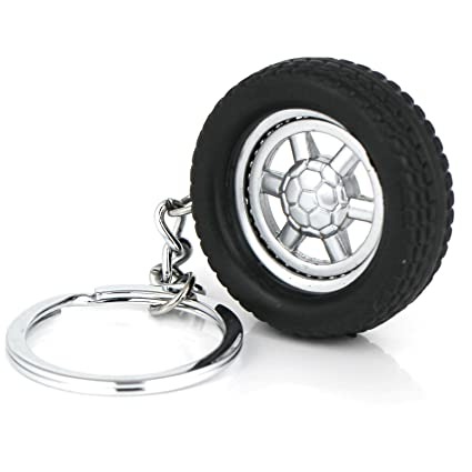 Maycom Auto Parts Model Spinning Rubber Wheel Tyre Tire Keychain Key Chain  Ring Keyring Keyfob 86023