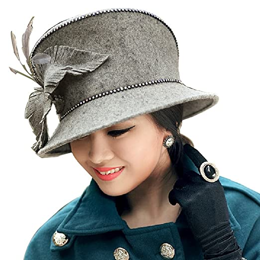 fdfc9800d51 Image Unavailable. Image not available for. Color  Ladies  Hats Women Hats  Fedora Wool Feather Rhinestones Decorations
