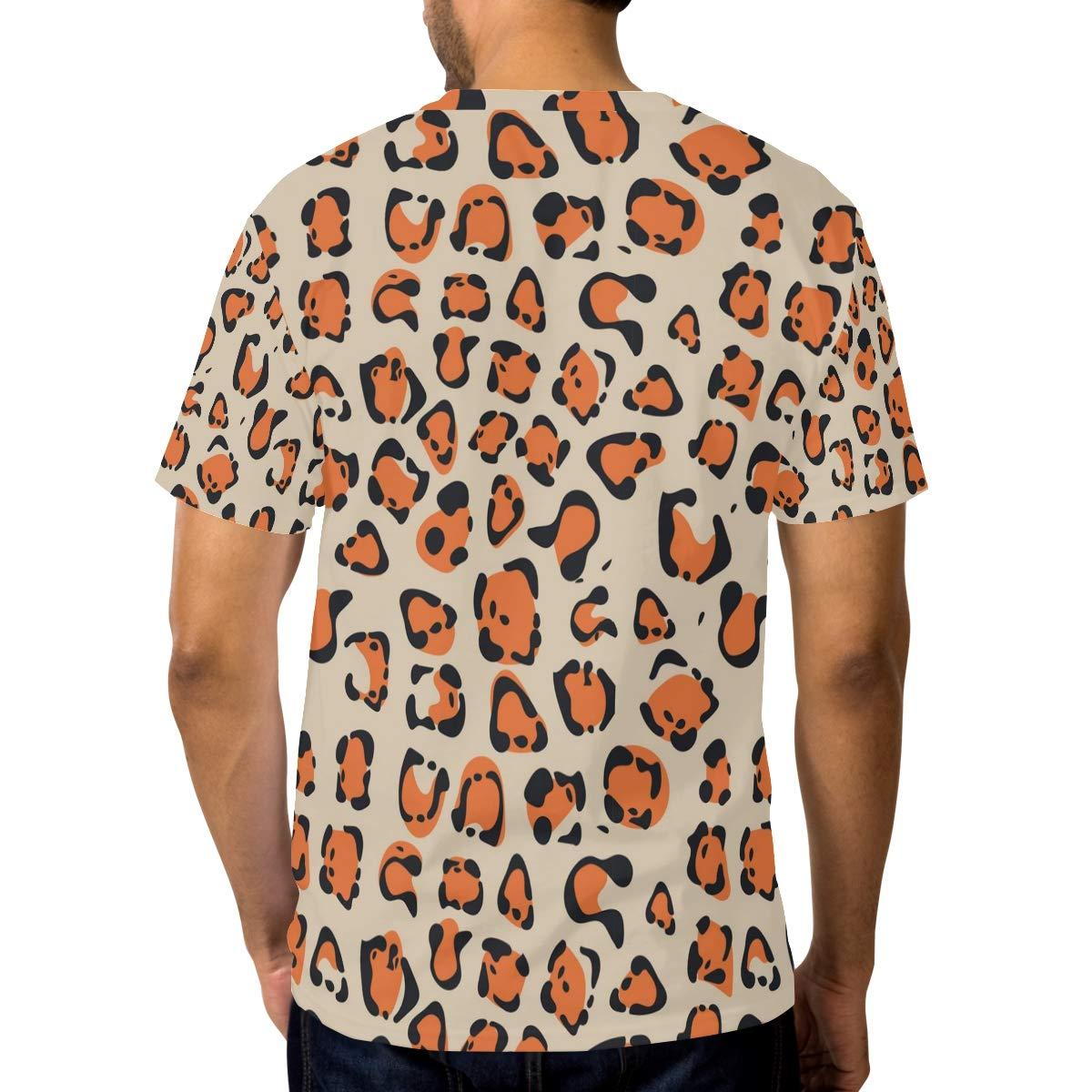 Horatiood Huberyyd Orange Leopard Print Decor Mens T Shirts Graphic Funny Body Print Short T-Shirt Unisex Pullover Blouse