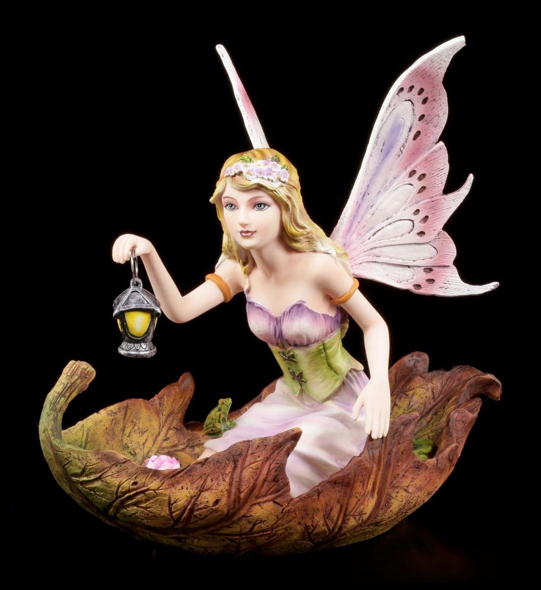 Elfen Figur - Luminosa in Blatt knieend - Fee Laterne Boot