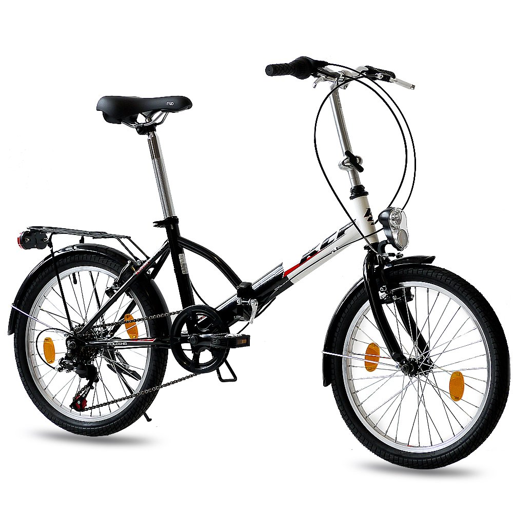 Leader 20 inch FOLDING BIKE CITY BIKE FOLDO 6 speed SHIMANO Unisex bike - black white (sw): Amazon.es: Deportes y aire libre