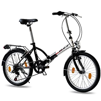 Leader 20 inch FOLDING BIKE CITY BIKE FOLDO 6 speed SHIMANO Unisex bike - black white