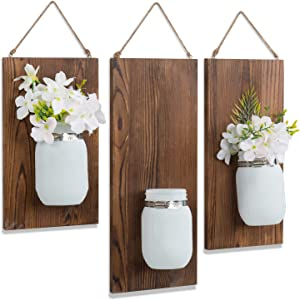 MyGift Rustic Style Wall Mounted White Glass Mason Jar & Brown Wood Planter Racks with Decorative Hanging Rope, Set of 3