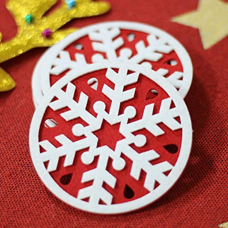 ADXCO 24 Pieces Christmas Felt Coasters 6 Snowflake Designs Christmas Cup Mat for Drinks and Coffee or Xmas Party Decoration