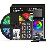 DECDEAL Smart Wifi LED RGB Strip Lights 16,4 pés. Luzes que mudam de cor 5050 com voz e APP e 24 teclas de controle remoto Lu