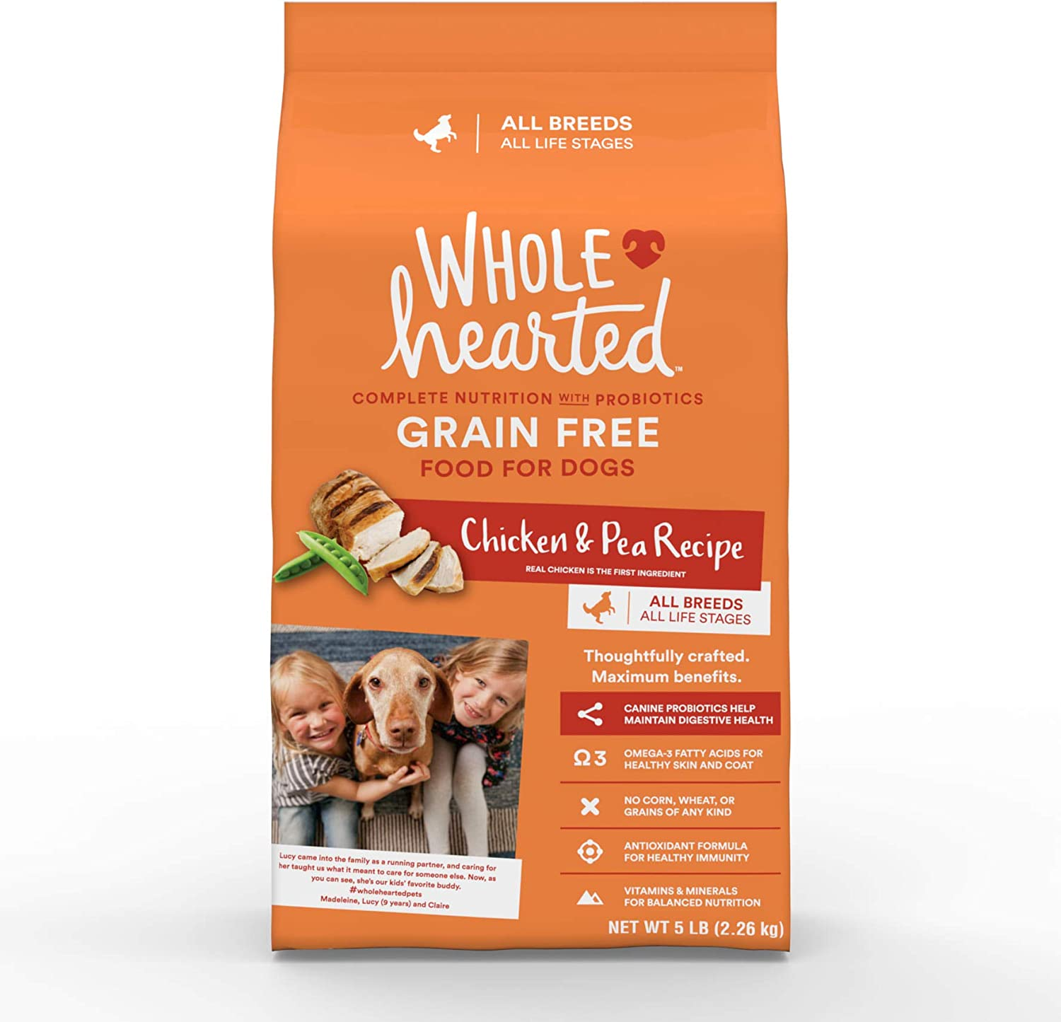 PETCO Brand - WholeHearted Grain Free All Life Stages Chicken & Pea Recipe Dry Dog Food, 5 lbs.