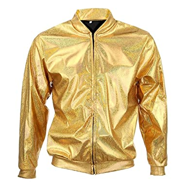 BFD One Men Women Metallic Shiny Silver Gold Lightweight Slim fit Bomber Jacket