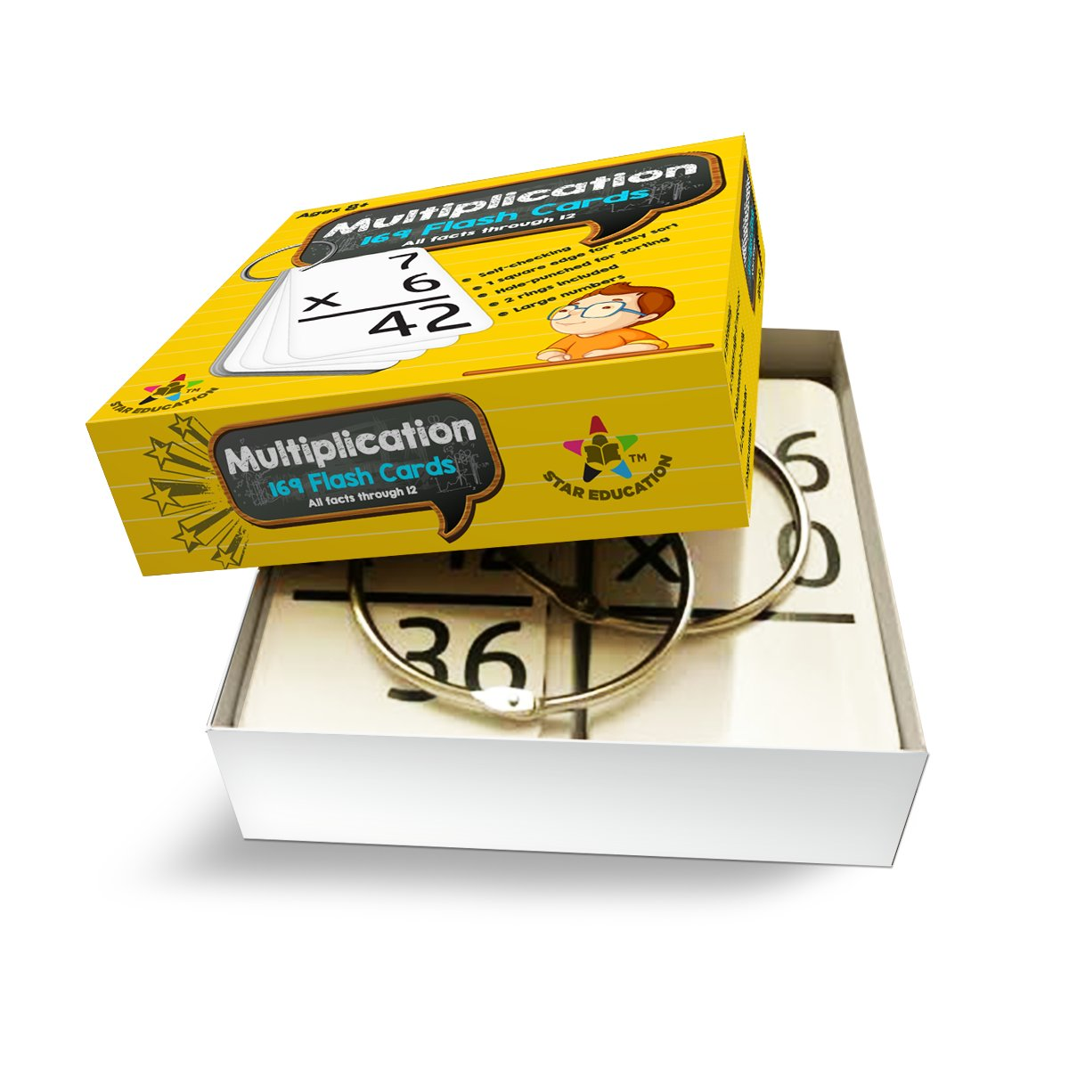 Star Education Multiplication Flash Cards, 0-12 (All Facts-169 Cards) With 2 Rings by Star Right (Image #5)