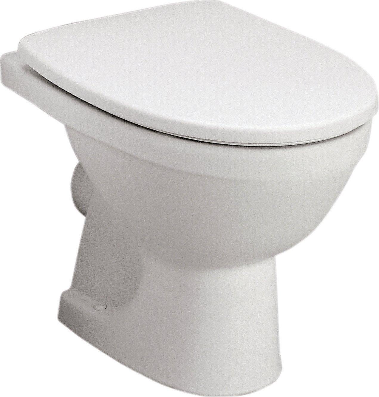 Stand-WC-Set Lucanto Weiß mit WC-Sitz Tiefspüler Abgang waagerecht Toilette NEU