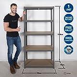 Garagen-Regaleinheit, 5 Etagen, extra robust–90cm breit, 45cm tief, 150cm hoch, 265kg pro Regal, 1,2mm dicker Rahmen
