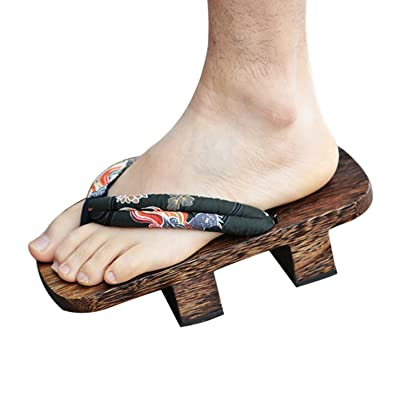 5bbbcb86c669 CHNHIRA Men s Summer Japanese Cosplay Anti-Slip Wooden Flip-Flop Clogs  Thong Sandals Slippers