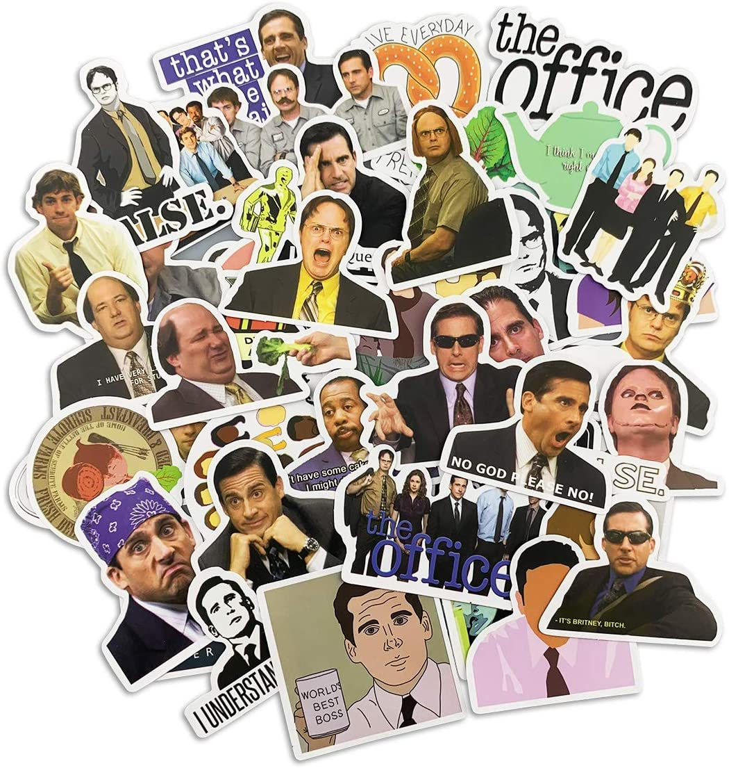 50pcs The Office Stickers Vinyl Funny Stickers for Hydroflasks, Laptop, Water Bottle, Phone Case, Computers Stickers for Teens Kids Adults