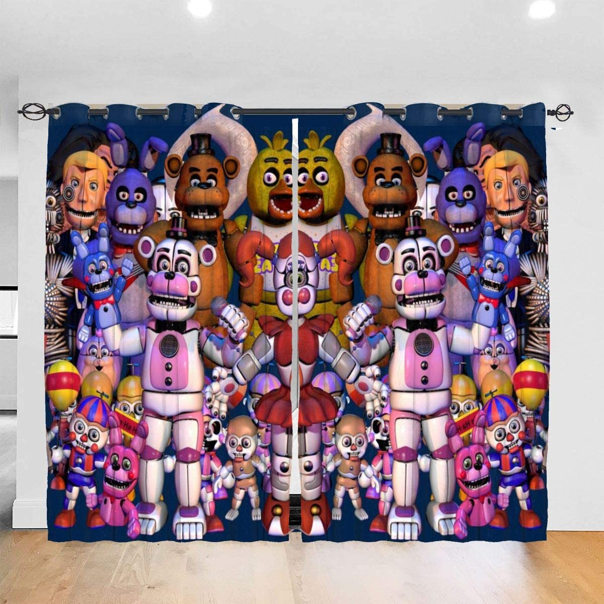 KRISMARIO Family Five Nights at Freddy s Blackout Curtains for Bedroom Living Room Windows, Drapes Top Insulation Blackout Curtain Symmetrical 2 Panels, 52W X 72L Inches