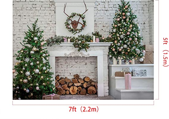 Kate 20x10ft Christmas Backdrops for Photography Christmas Trees Photo Background Blue Classical Wall Photo Portrait Backdrop