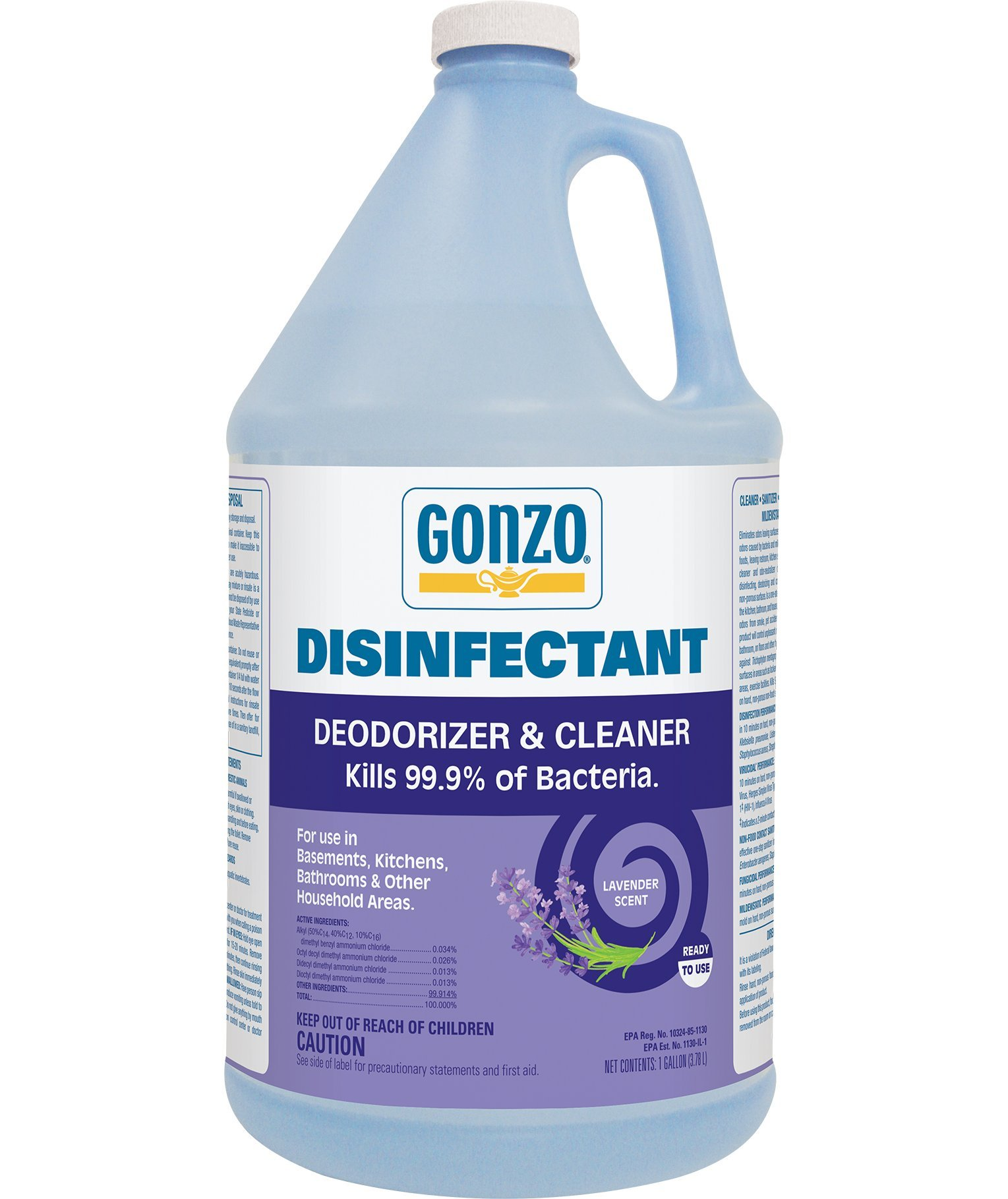 Gonzo Liquid Disinfectant Deodorizer and Cleaner - 1 Gallon - Lavender Scent - Kill Germs For Pet Area Smoke Kitchen Musty Air Vomit Paint Disinfect Deodorize Clean and Sanitize