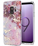 Galaxy S9 Case,Samsung Galaxy S9 Case,Spevert Marble Pattern Hybrid Hard Back Soft TPU Raised Edge Ultra-Thin Shock Absorption Slim Protective Cover Case for Samsung Galaxy S9 2018 - Red