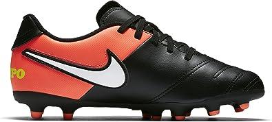 finest selection c78ef d4fbe NIKE Kids Jr Tiempo Rio III FG Black White Hyper Orange Volt Soccer Cleat 3