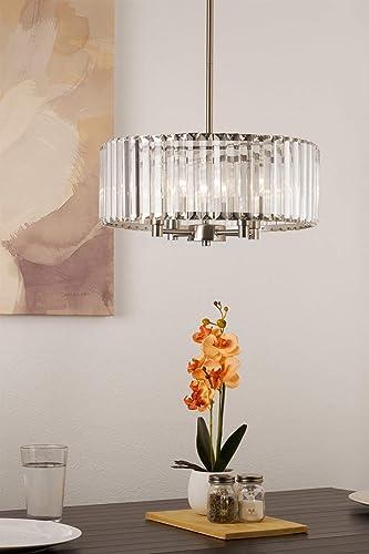 Kira Home Delilah 16 Modern 4-Light Crystal Drum Chandelier Clear Beveled Glass Panels, Brushed Nickel Finish