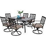 Sophia & William Patio Dining Set 7 Pieces Outdoor Metal Furniture Set, 6 x Swivel Chairs with 1 Rectangular Umbrella Table for Outdoor Lawn Garden Black