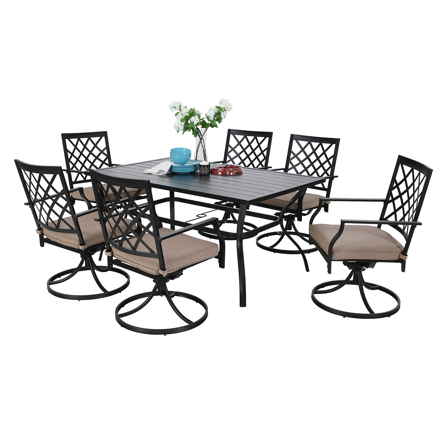 MF Outdoor Patio Dining Set 7 Pieces Metal Furniture Set, 6 x Swivel Chairs with 1 Rectangular Umbrella Table for Outdoor Lawn Garden Black