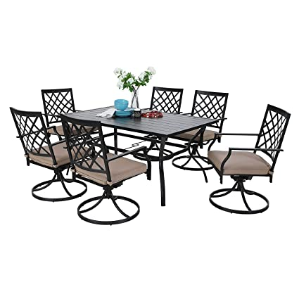 Remarkable Mf Outdoor Patio Dining Set 7 Pieces Metal Furniture Set 6 X Swivel Chairs With 1 Rectangular Umbrella Table For Outdoor Lawn Garden Black Andrewgaddart Wooden Chair Designs For Living Room Andrewgaddartcom