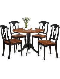 East West Furniture DLKE5 BCH W 5 Piece Kitchen Table Set, Black