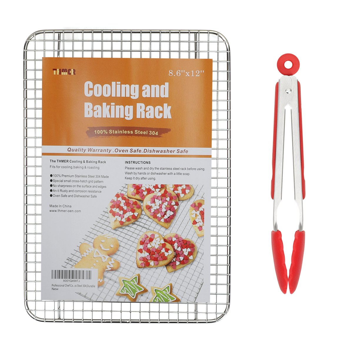 Thmer Thmer Professional Cooling Baking Rack,Baking Rack Fits Half Sheet Pans Cool Cookies,Cakes,Breads - Oven Safe Cooking,Roasting,Grilling,BBQ - 100% Stainless Steel 304,Durable(8.6''x12'')