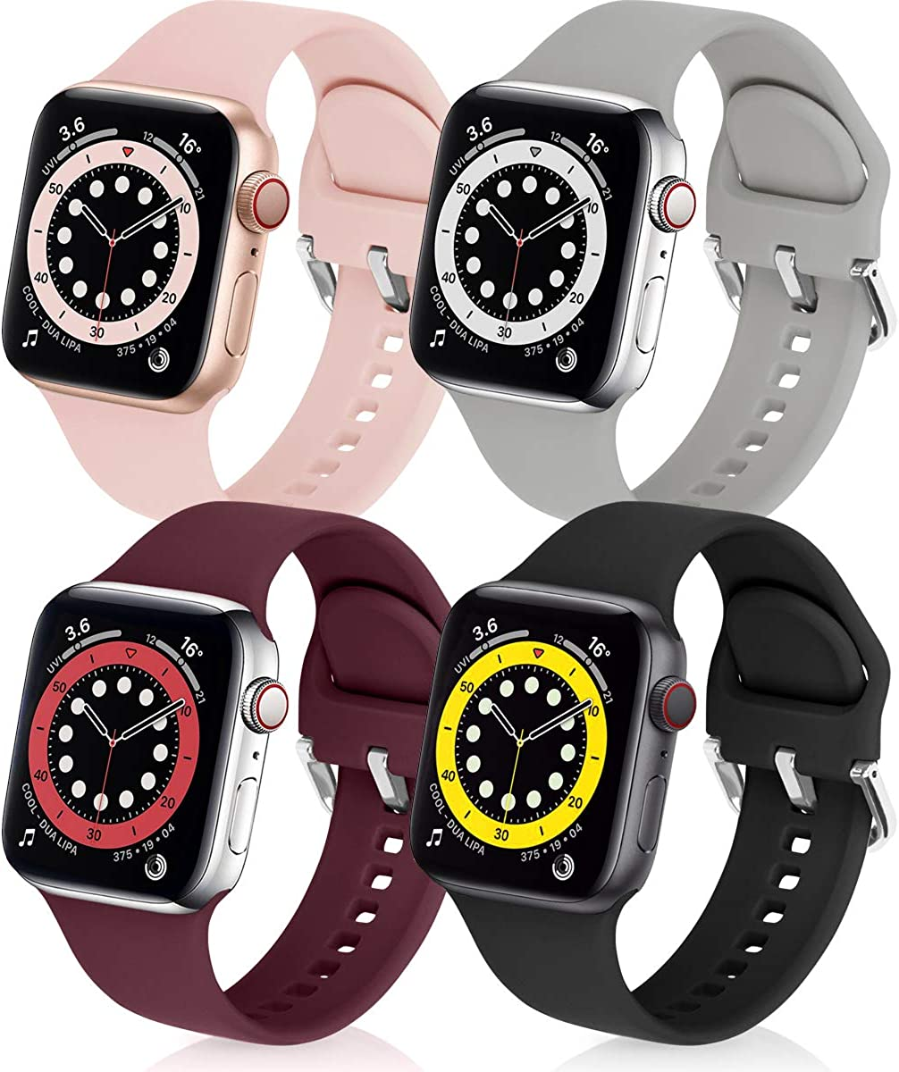 eCamframe Bands Compatible with Apple Watch Band 40mm 38mm, 4 Pack Soft Silicone Sport Replacement Wristband Compatible with iWatch Series 6 5 4 3 2 1 & SE Men Women
