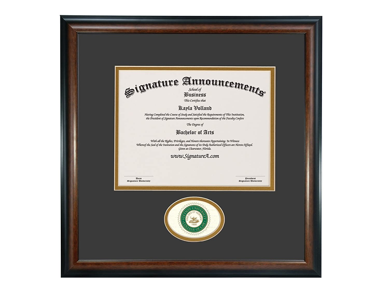 Signature Announcements Stetson University College of Law Sculpted Foil Seal Graduation Diploma Frame 20 x 20 Matte Mahogany
