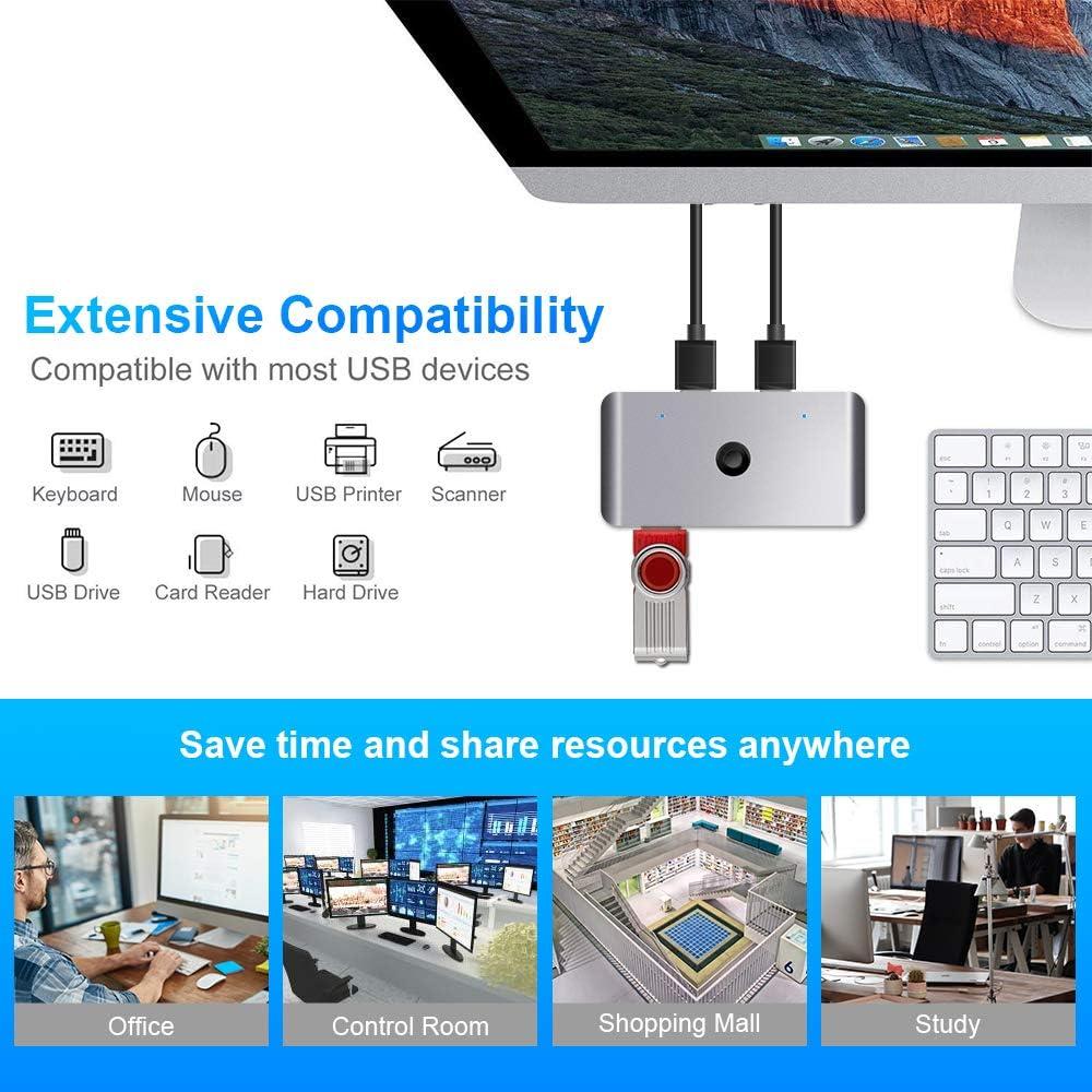 Tastatur mit One-Button-Swapping und 2er USB 3.0-Stecker USB 3.0 Switch Selector Aluminium KVM Switcher 4 Port 2 Computer Peripherie-Switcher Adapter Hub f/ür PC Scanner Drucker Maus