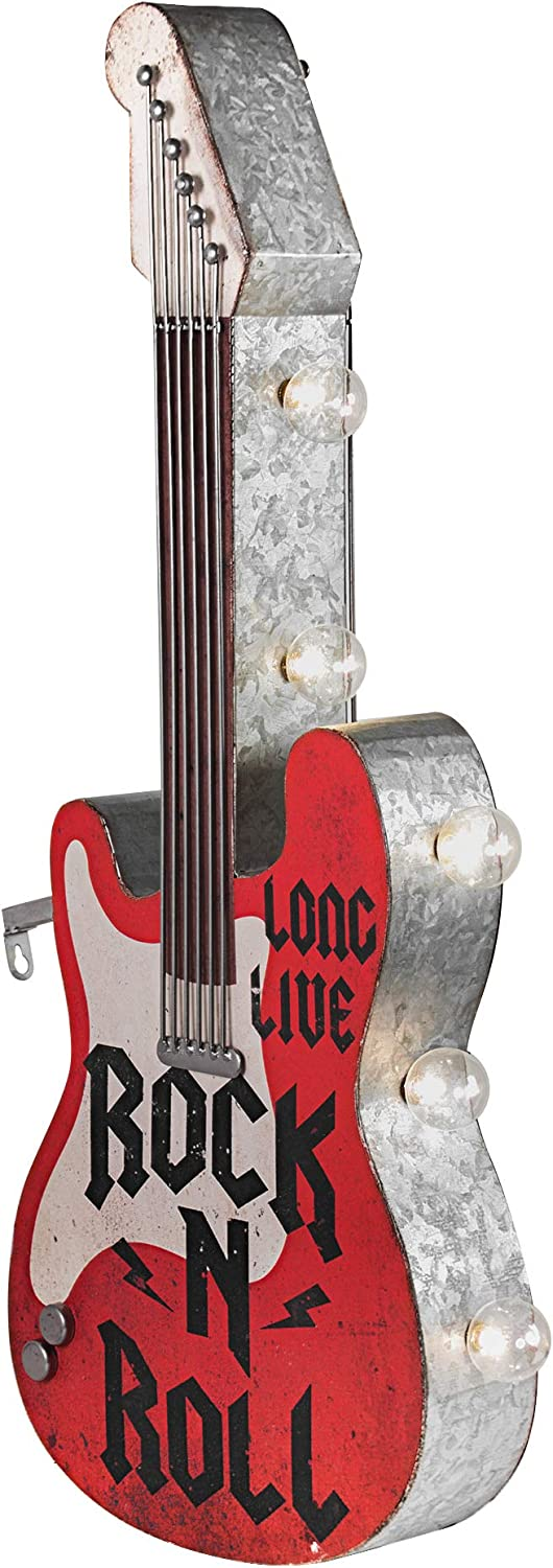 """American Art Decor Long Live Rock n Roll Electric Guitar Vintage LED Marquee Sign Wall Decor for Man Cave, Bar, Garage – Battery-Operated (25"""" x 10"""" x 3.5"""")"""