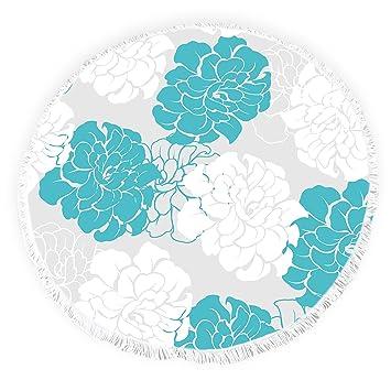Yun Nist Toallas de Playa Redondas con borlas Florales de Peonía Flecos Círculo Grueso Gitano Alfombra de Picnic Yoga Alfombra: Amazon.es: Hogar