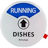 """Kichwit Clean Dirty Dishwasher Magnet with The 3rd Option""""Running"""", Perfect for Quiet Dishwashers, Non-Scratch Strong Magnet Backing & Residue Free Adhesive, 3.5"""" Diameter, White"""