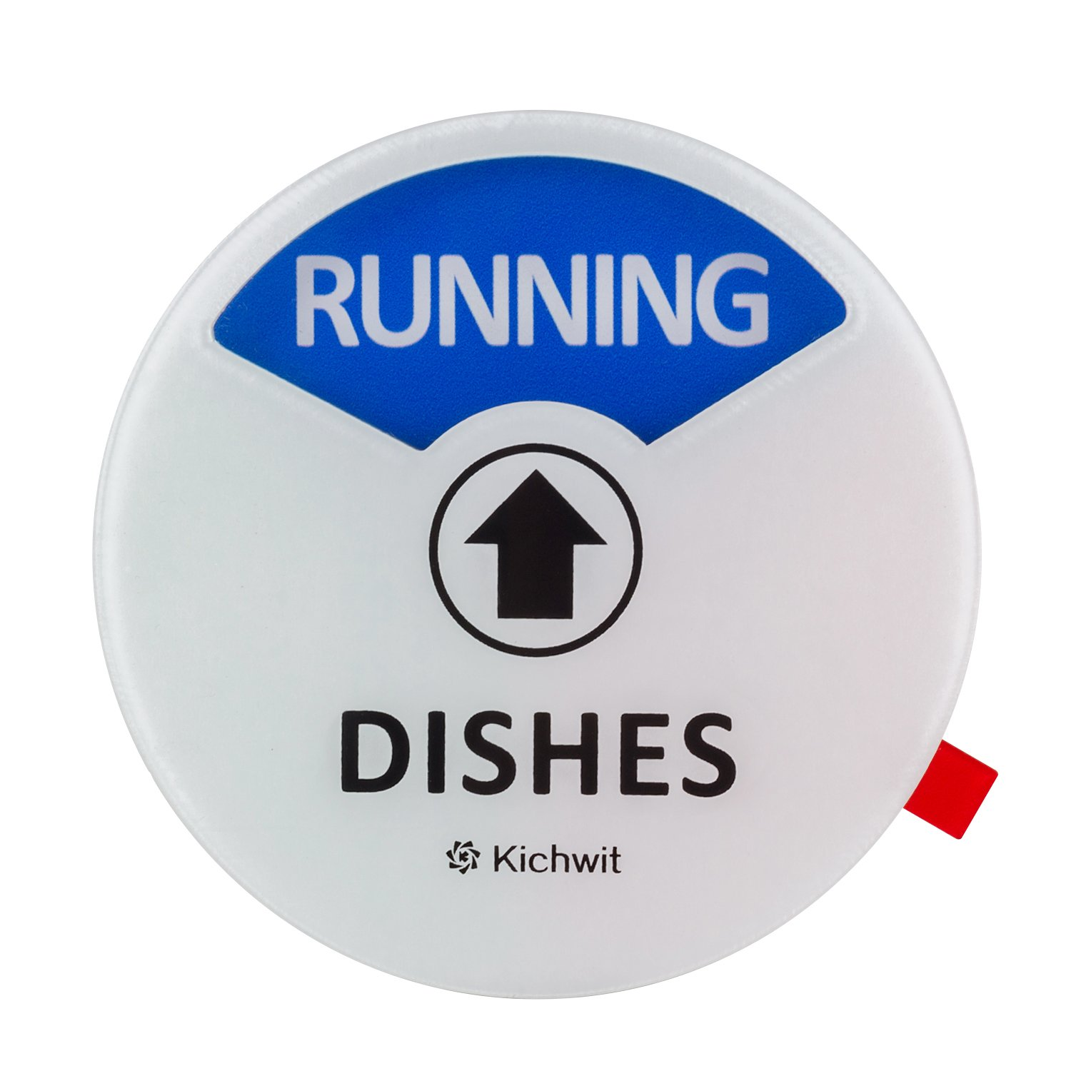 """Kichwit Clean Dirty Dishwasher Magnet with the 3rd Option """"Running"""", Perfect for Quiet Dishwashers, Non-Scratch Strong Magnet Backing, Residue Free Adhesive Included, 3.5"""" Diameter, White"""