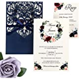 DreamBuilt 5X7.2 Inch 50PCS Blank Laser Cut Navy Blue Wedding Invitations With Rsvp Cards And Envelopes And Ribbon Belly…
