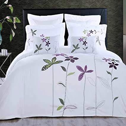 Amazon duvet cover white king embroidered floral pattern duvet cover white king embroidered floral pattern lavender purple flowers 5 piece lightweight bedding and pillows mightylinksfo