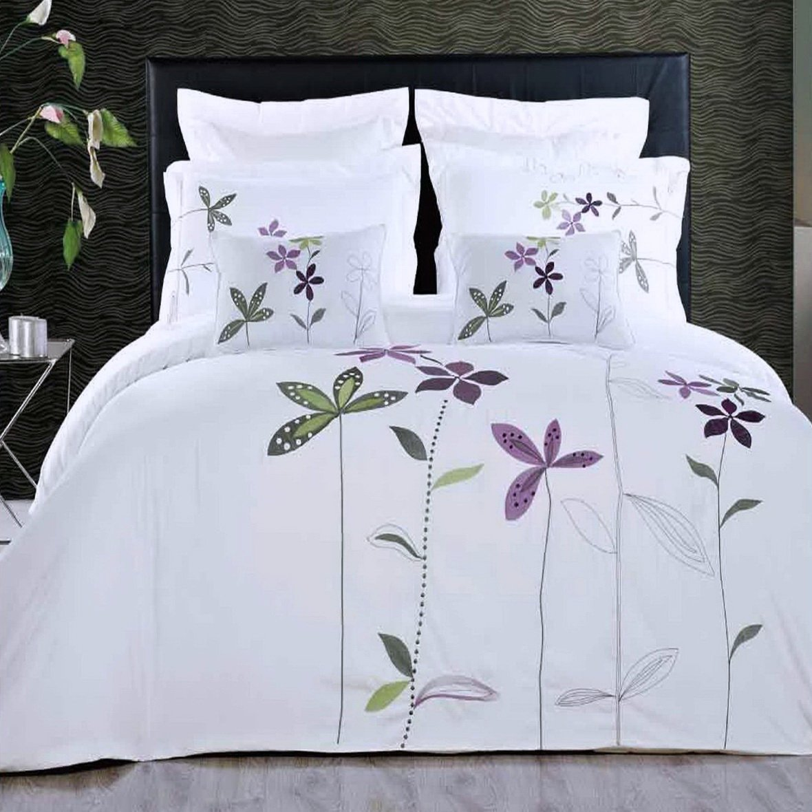Duvet Cover White King Embroidered Floral Pattern Lavender Purple Flowers 5 Piece Lightweight Bedding and Pillows Pillowcases Set