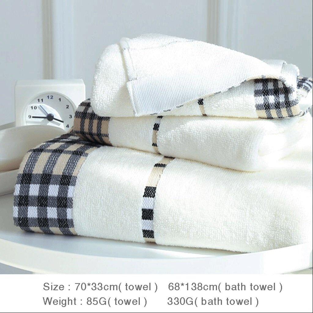 ZLR Asciugamano per adulti Asciugamano per il bagno Asciugamano morbido assorbente per uso domestico Set (Asciugamani * 2 + Asciugamano da bagno * 1) ( Colore : A )