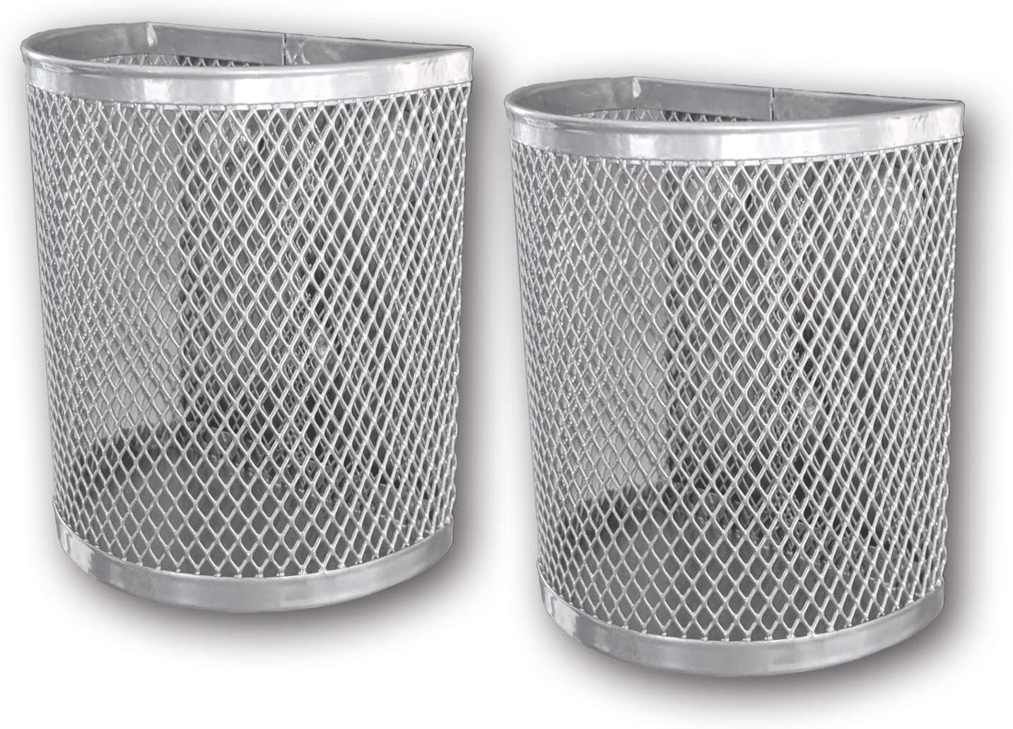 Magnetic Pen/Pencil Mesh Metal Basket/Holder/Container/Storage/Organizer for Kitchen/Refrigerator/Fridge/Whiteboard/Dry Erase/File Cabinet/Locker (Silver)(Set of 2)